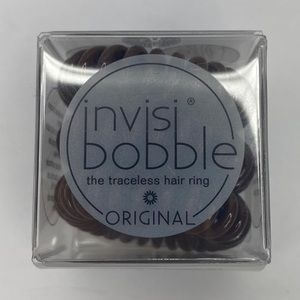 NEW INVISI BOBBLE HAIR TIE SCRUNCHIE RING BROWN
